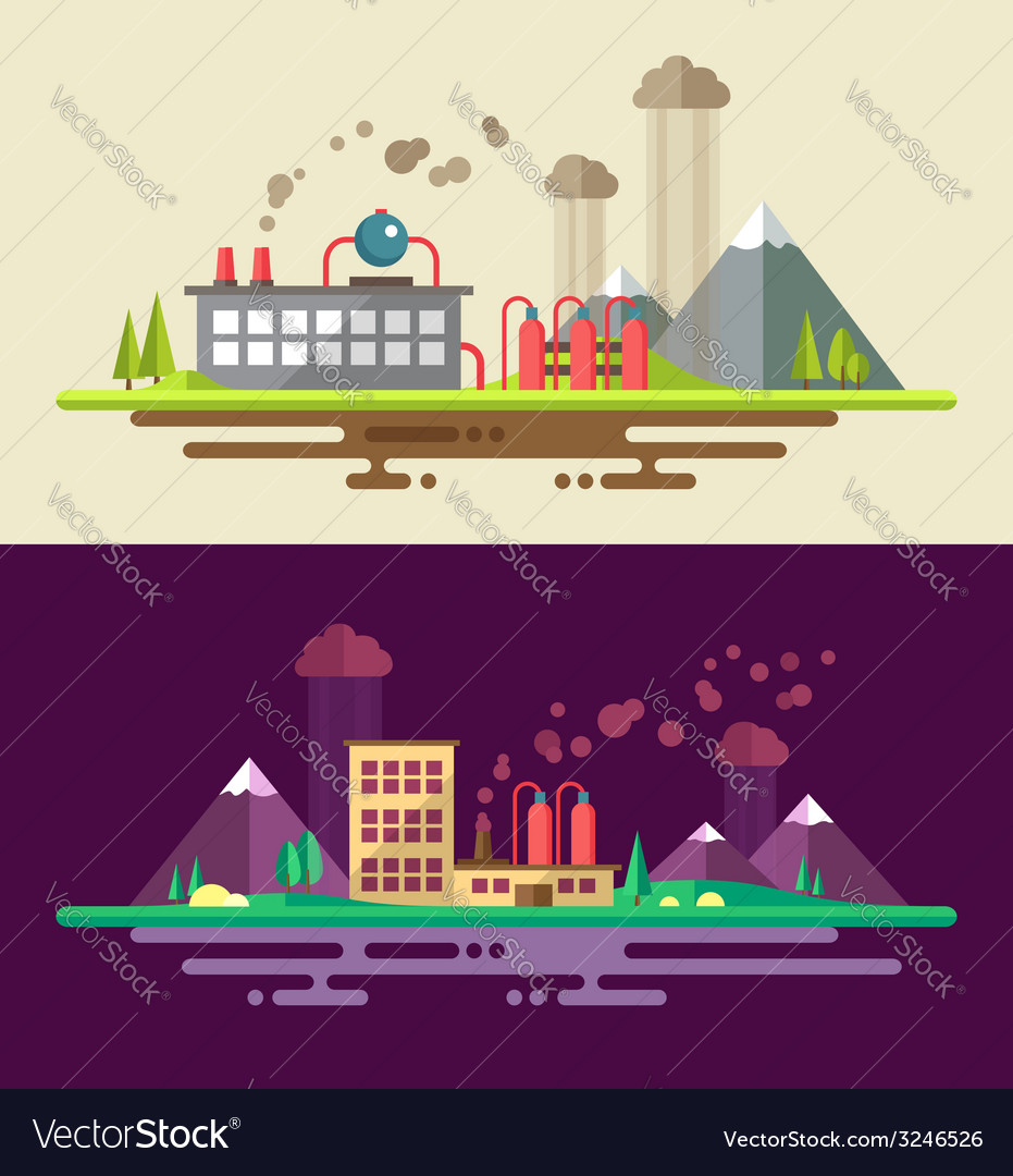 Modern flat design ecological conceptual landscape