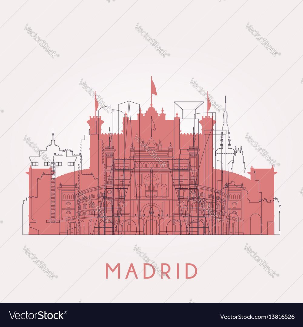 Outline madrid vintage skyline with landmarks
