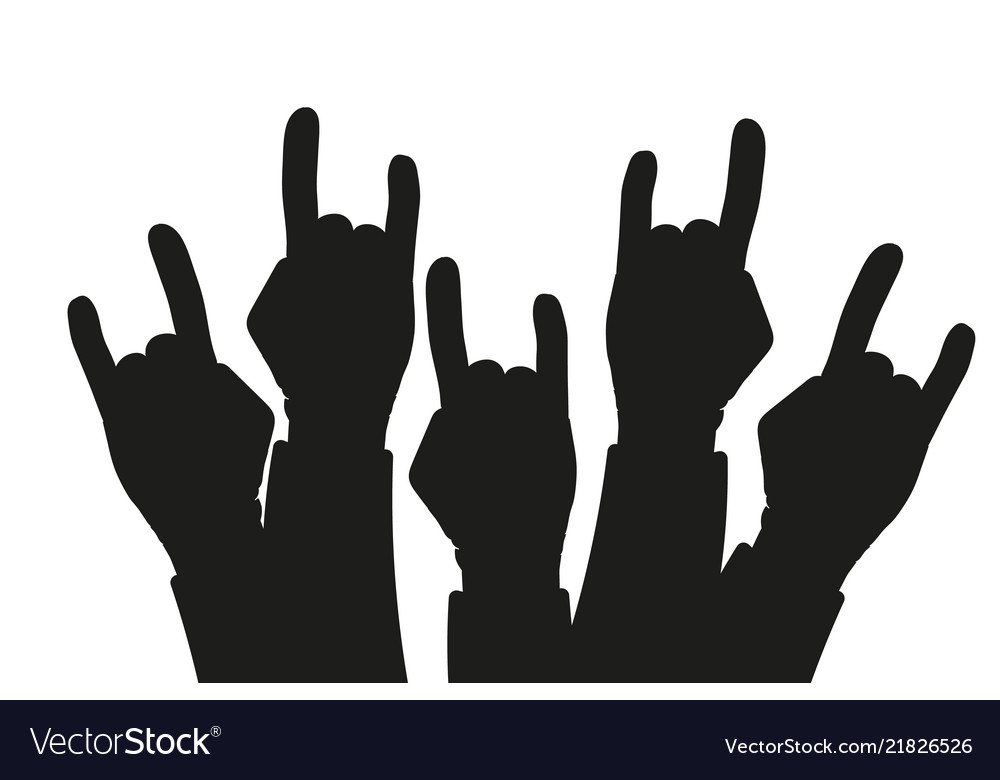 Party crowd raised rock hands silhouettes at a