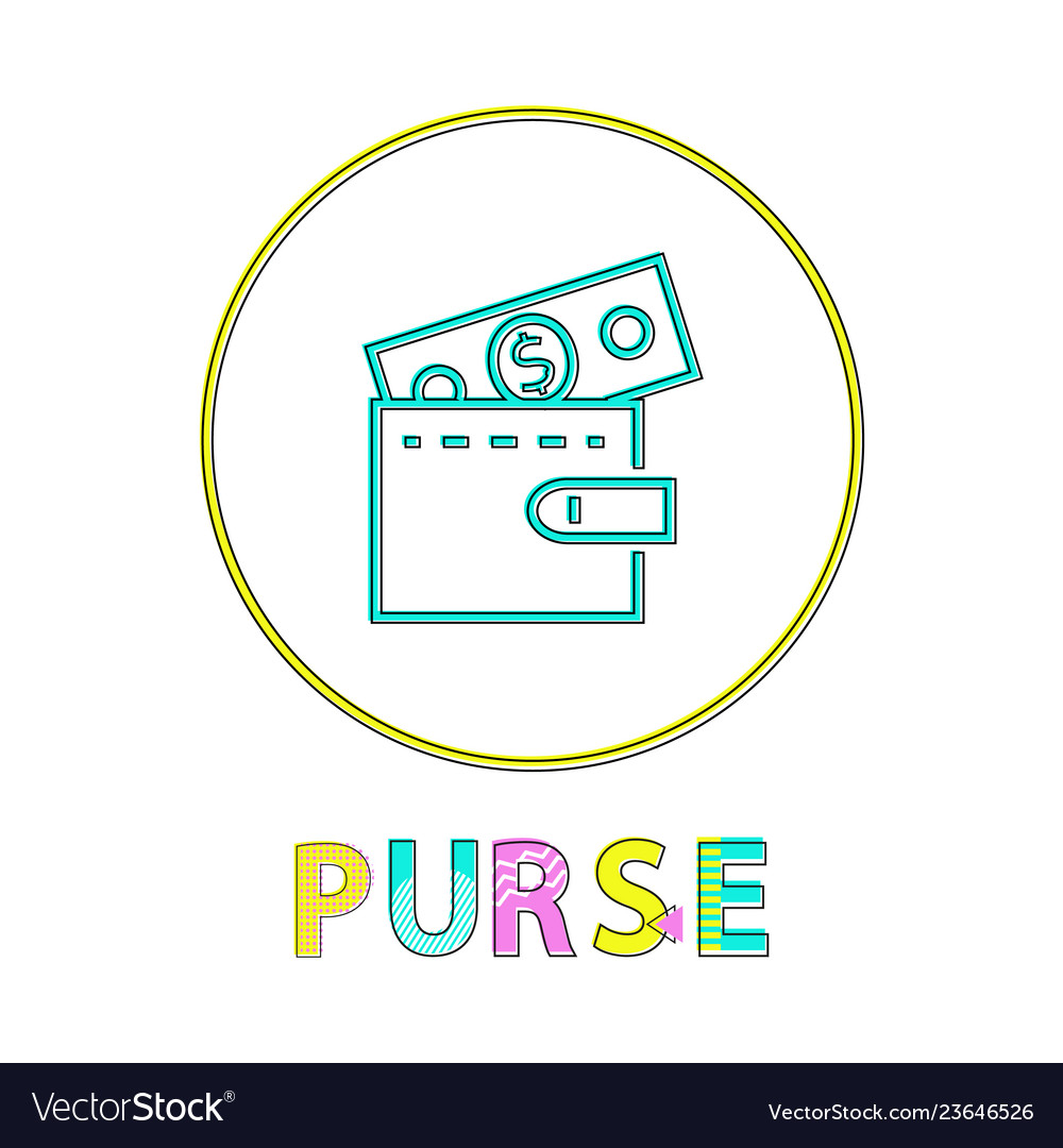 Purse in linear outline style