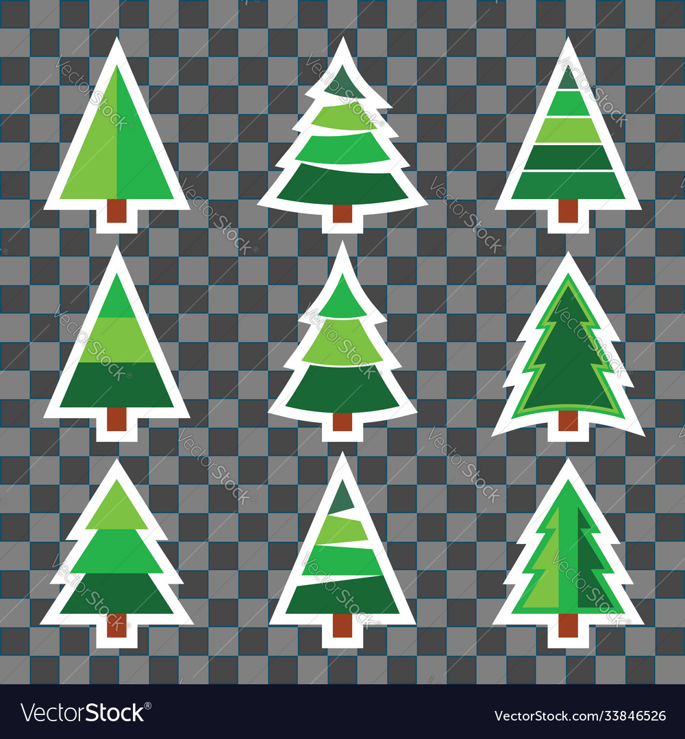 Set christmas tree sticker on transparent