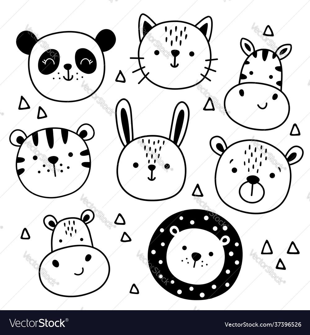Set cute funny animals heads