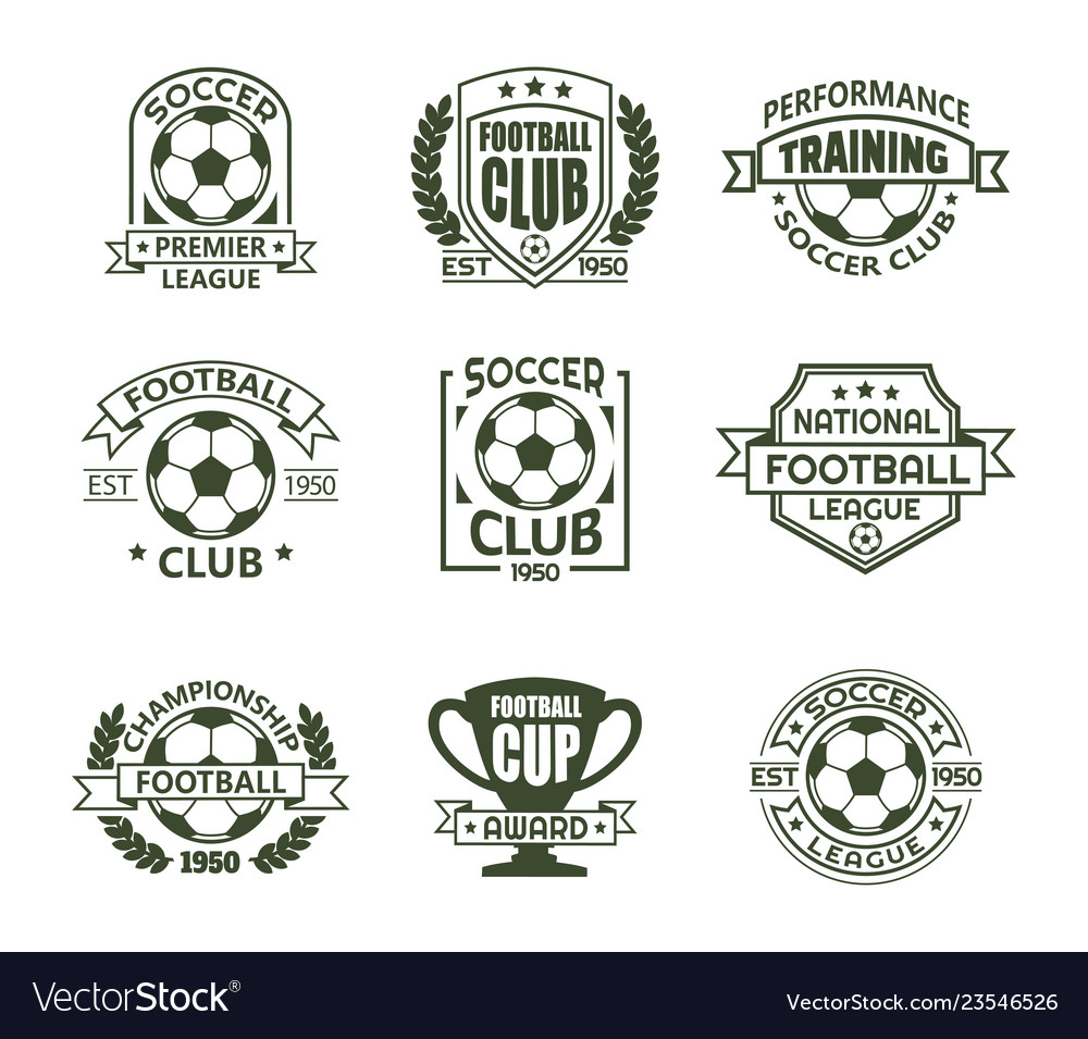 Set isolated vintage soccer club signs