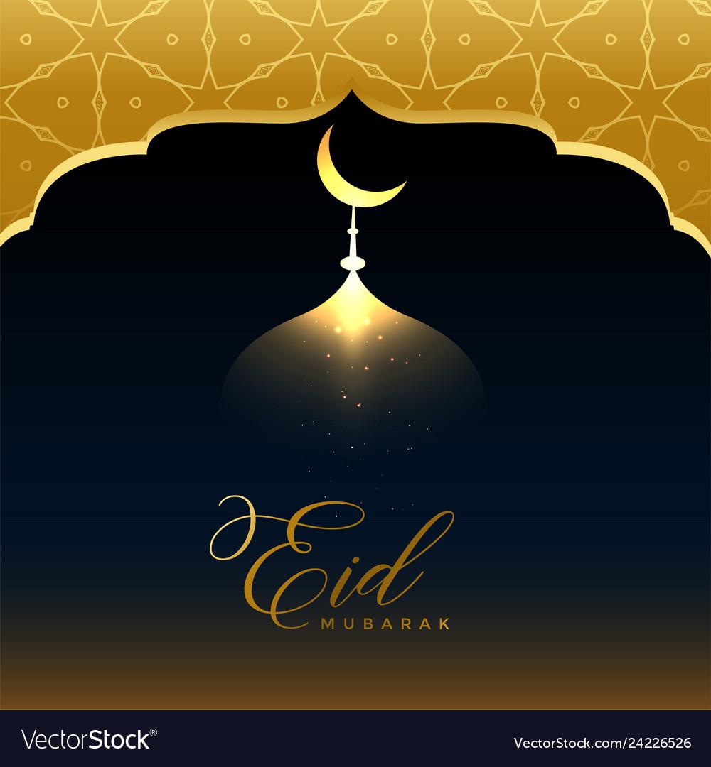shiny golden eid mubarak greeting background vector image vectorstock