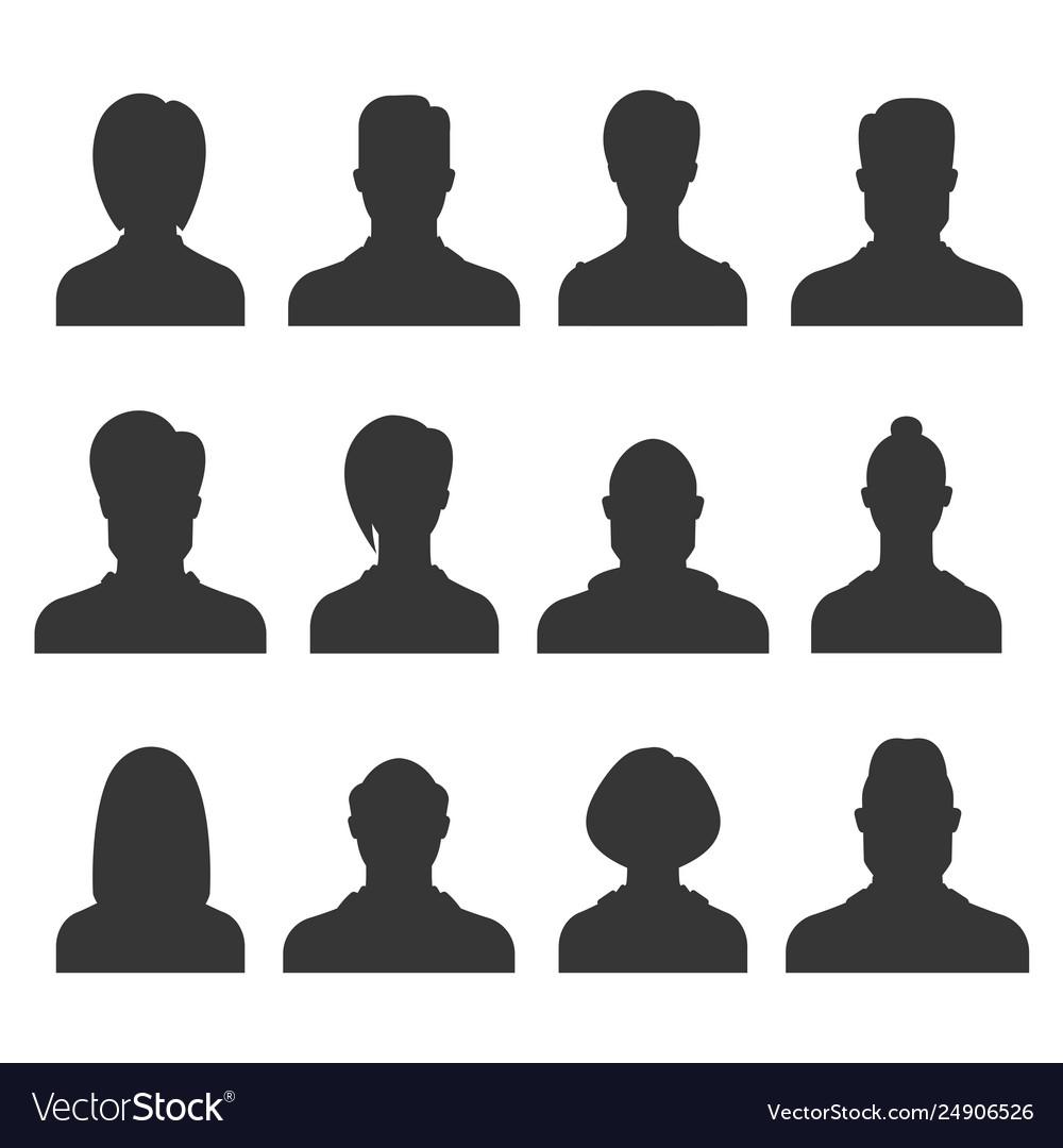 Silhouette avatar set person avatars office