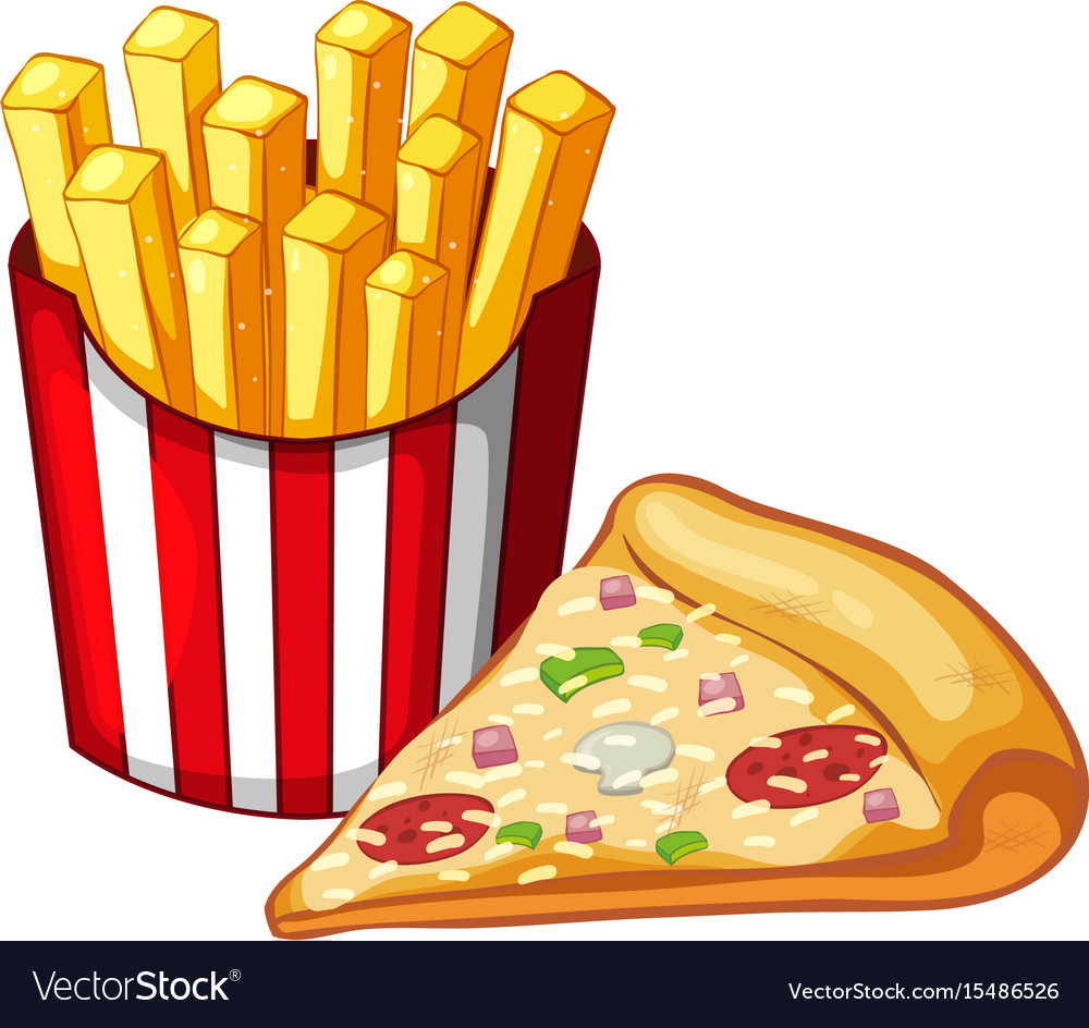 Slice of pizza and bag of frenchfries vector image