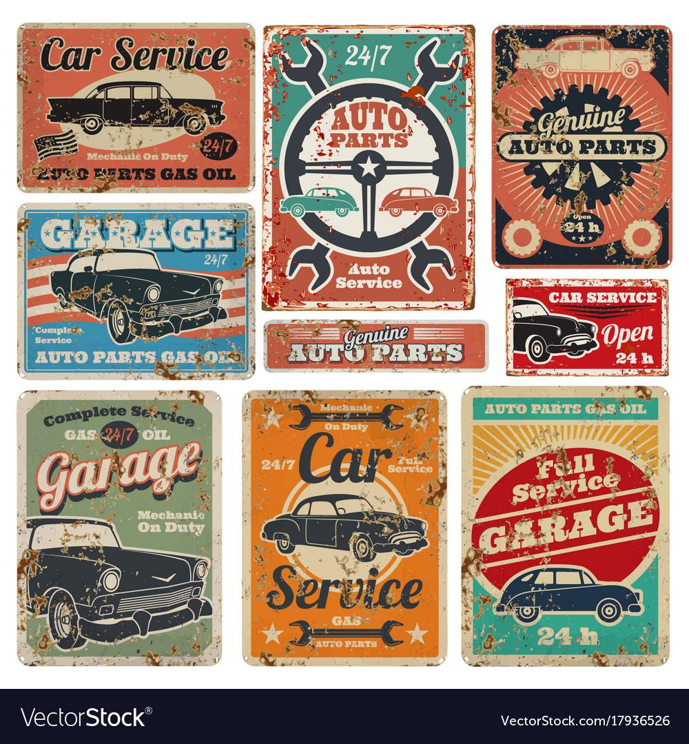 Vintage road vehicle repair service garage and