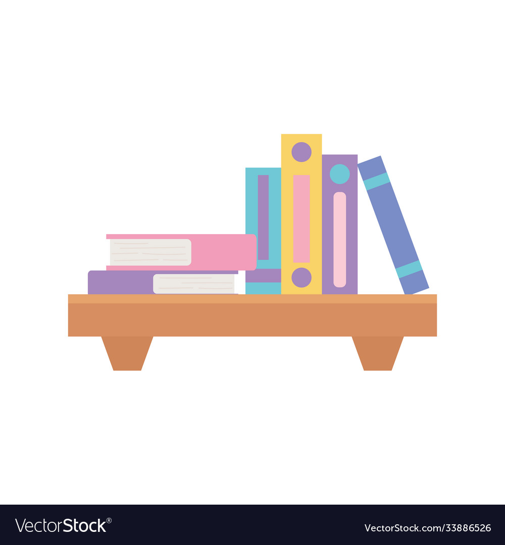 Wood shelf with stack books isolated design
