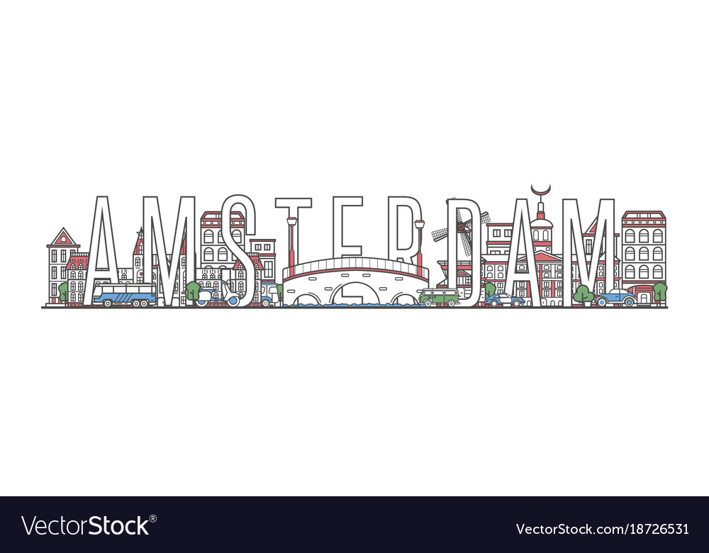 Amsterdam travel lettering in linear style