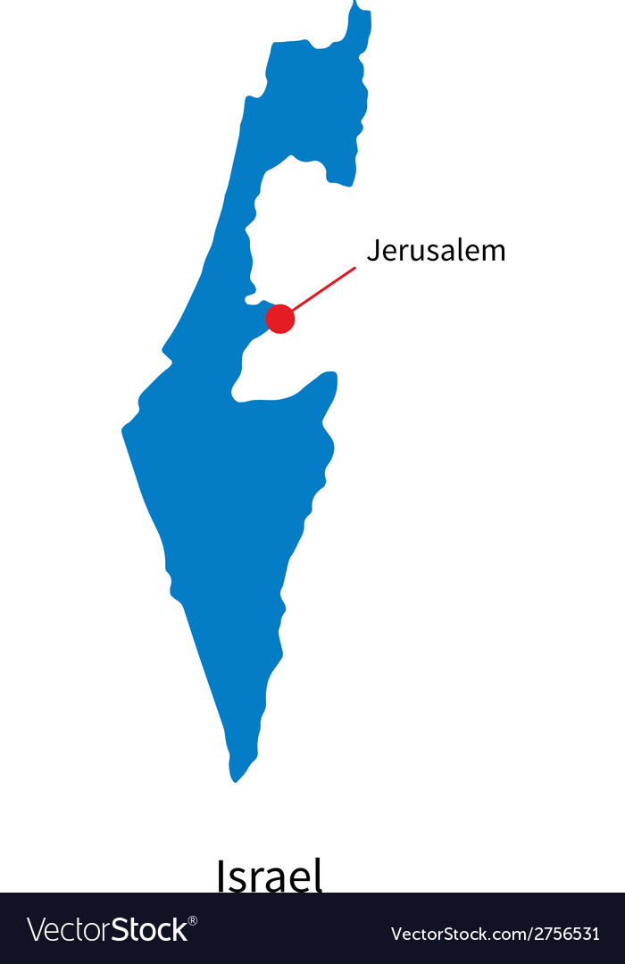 Detailed map of Israel and capital city Jerusalem