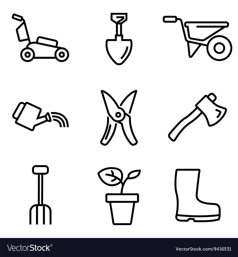 Line gardening icons set