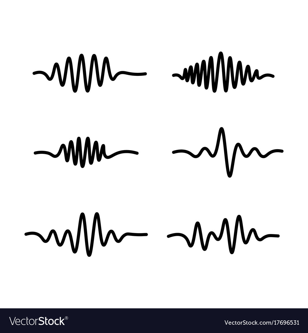 Line sound waves icon on white background