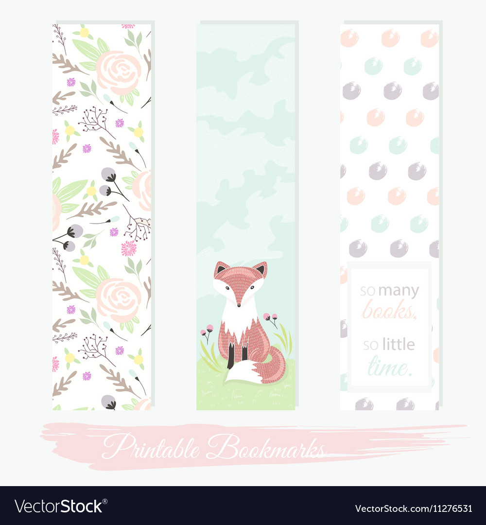 photo relating to Bookmarks Printable known as Printable bookmarks with bouquets fox