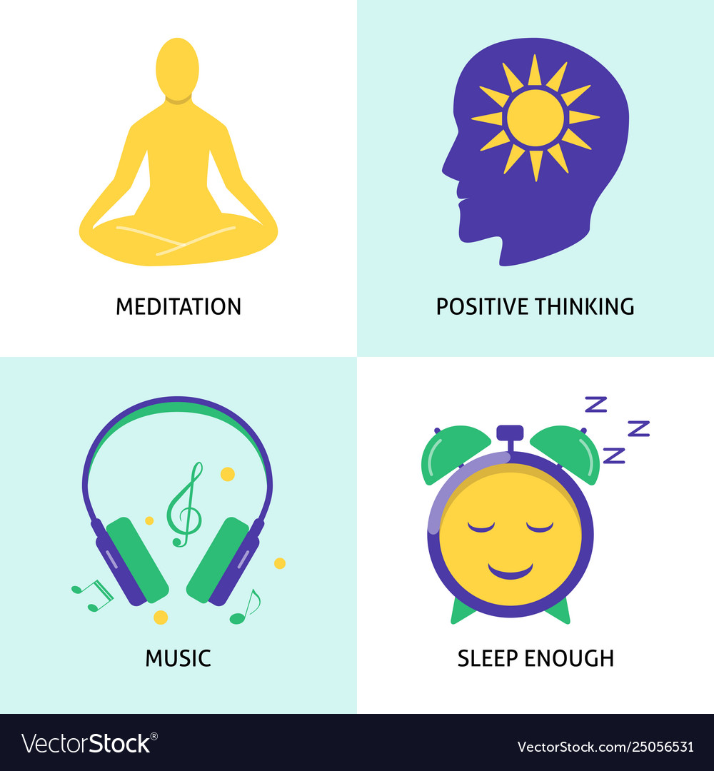 Relaxation and mental health concept icon set in