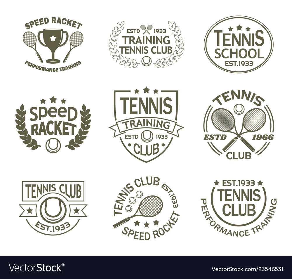 Signs with racket and ball for tennis sport club
