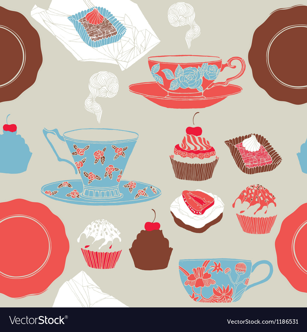 Tea and cupcakes Seamless pattern