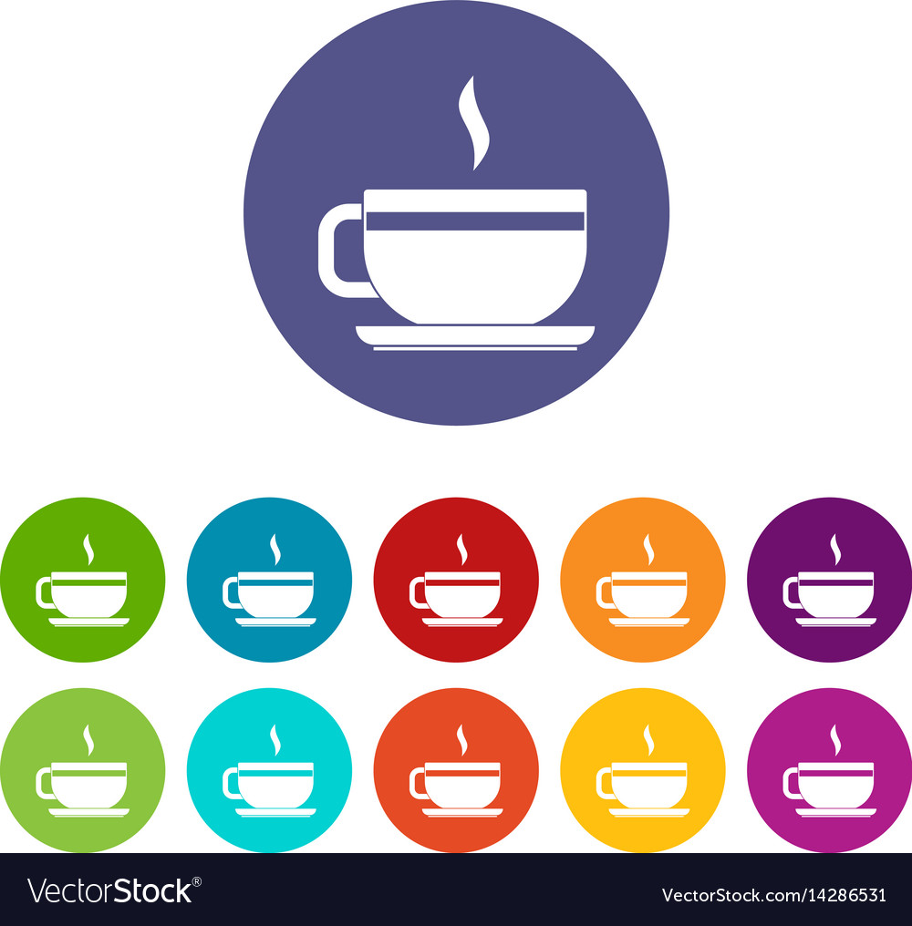 Tea cup and saucer icons set flat