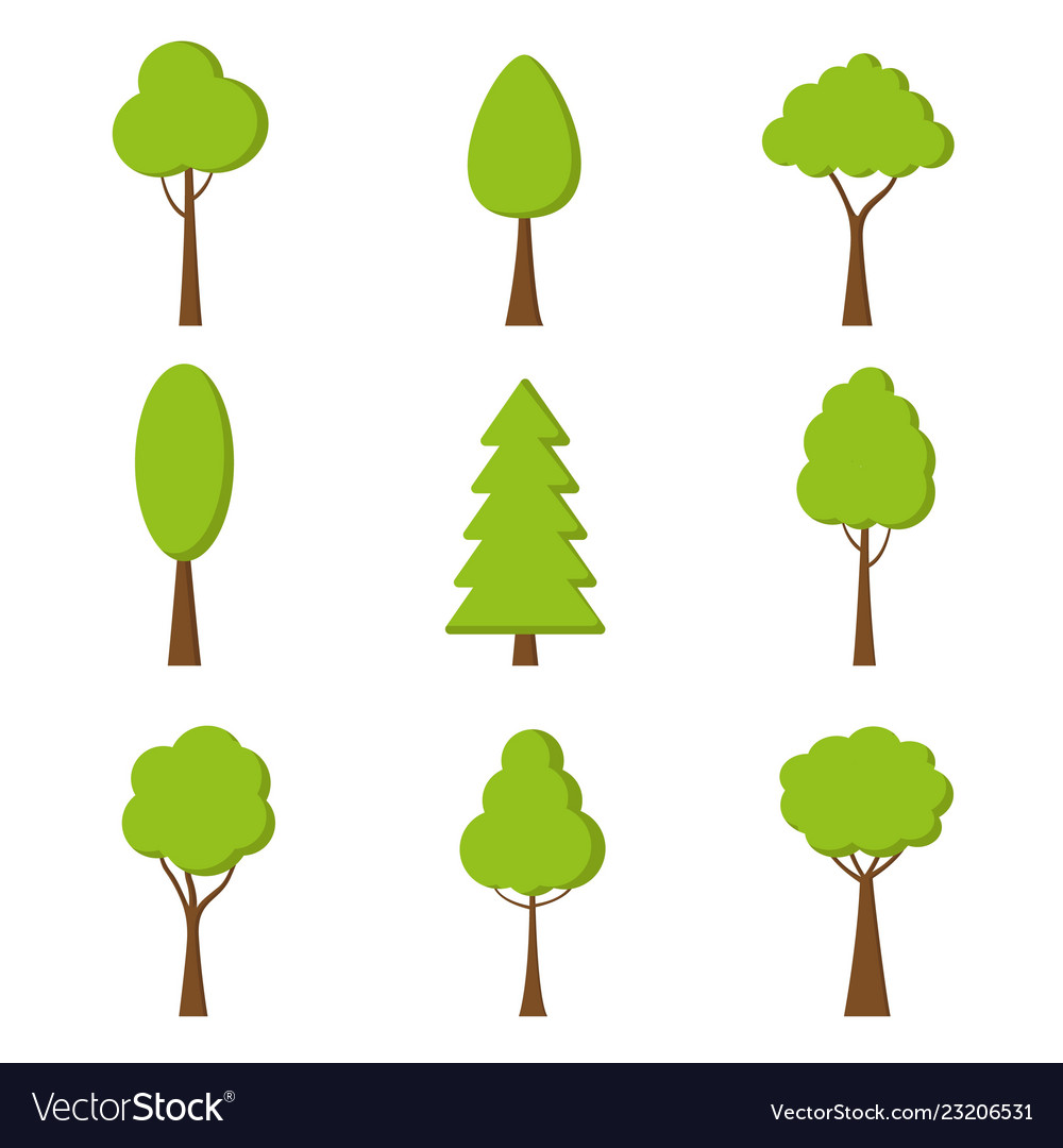 Tree icon nature symbol in flat design