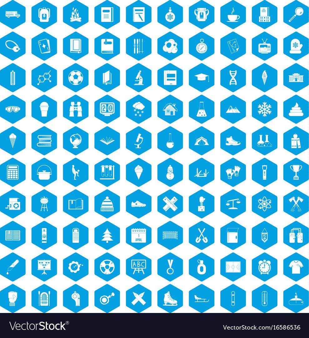 100 school years icons set blue