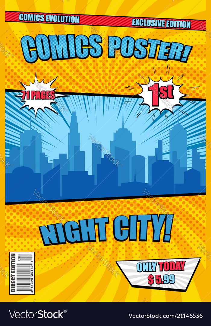 Bright night city comic poster cover