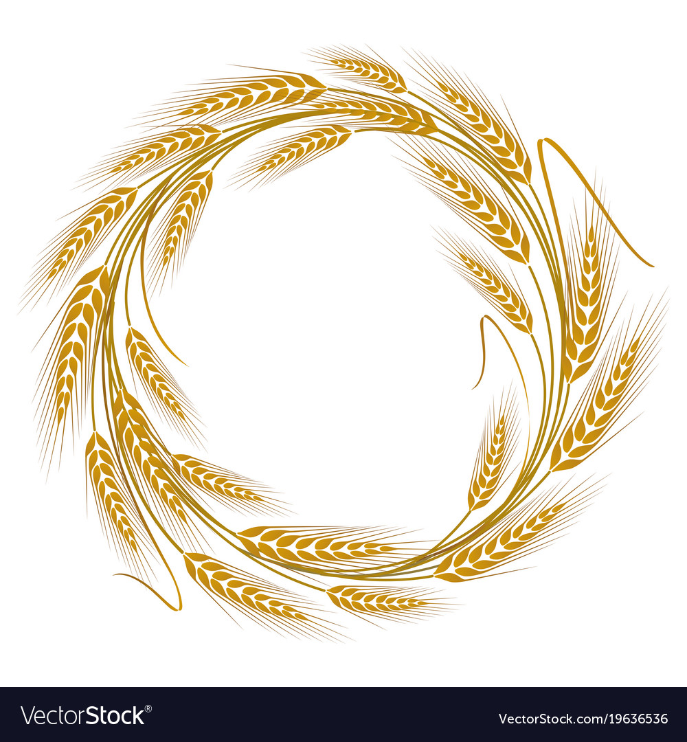 Circular frame wreath of wheat ears