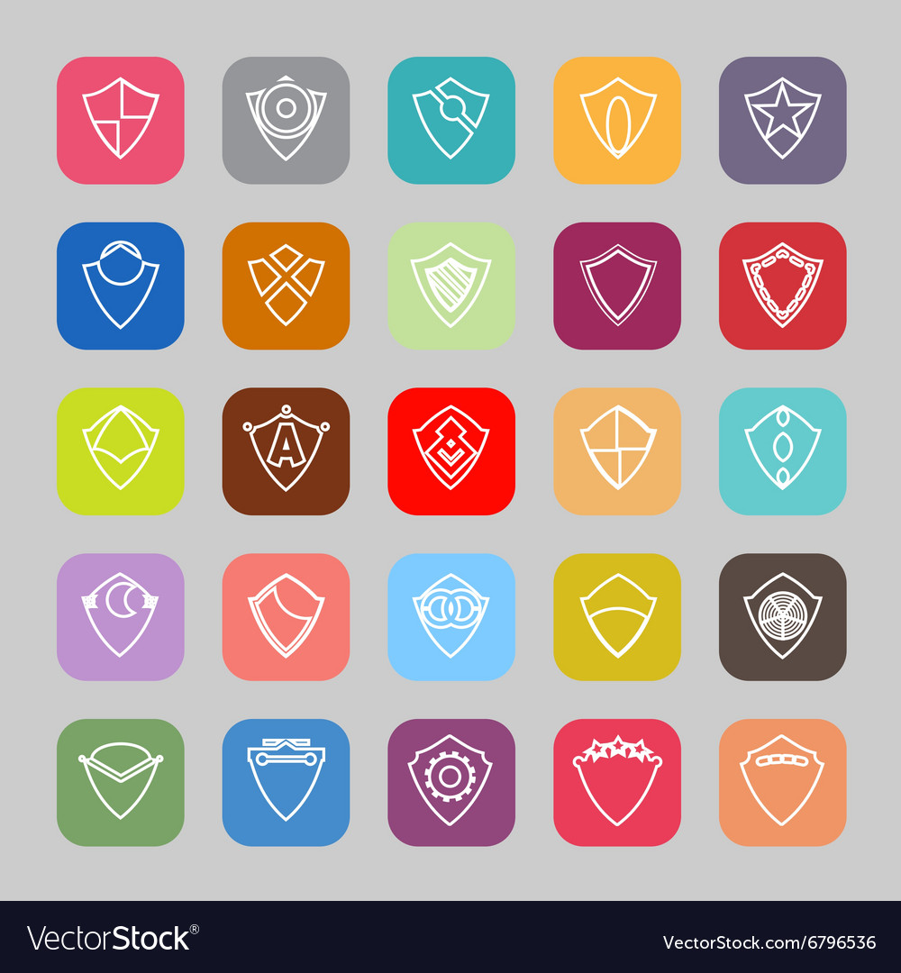 Design shield line flat icons vector image