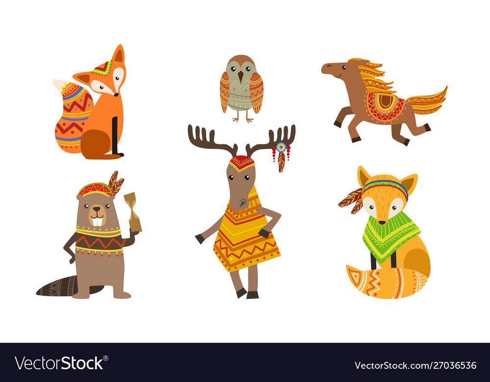 Ethnic patterned animals set fox owl horse