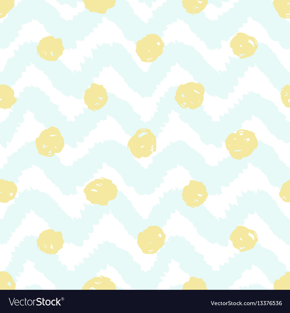 Grunge chevron and polka dots seamless pattern vector image