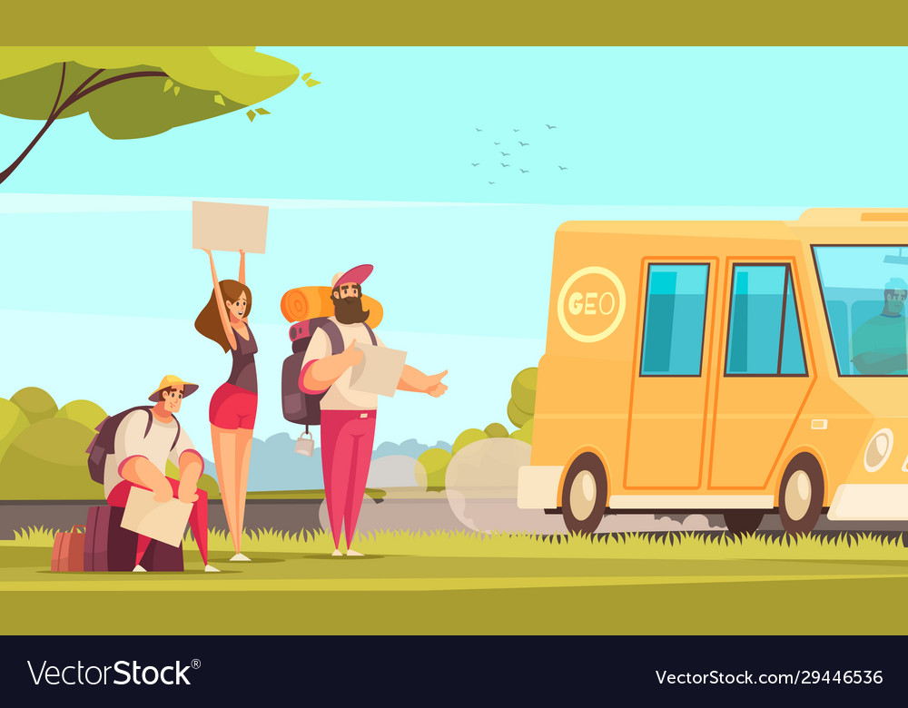Hitchhiking cartoon background