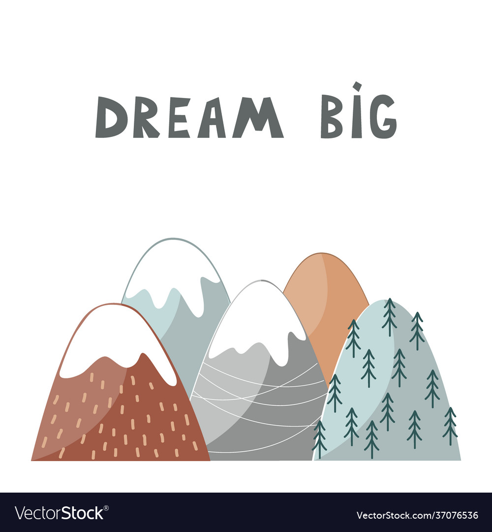Nursery poster with mountains and hand drawn