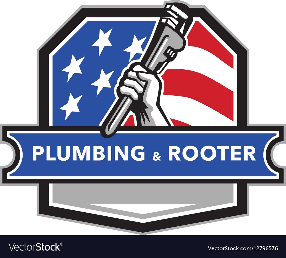 Plumber Hand Pipe Wrench USA Flag Crest Retro Vector Image