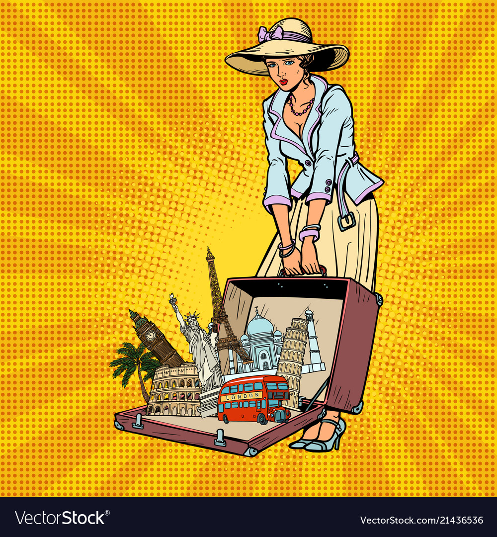 Pop art retro woman traveler
