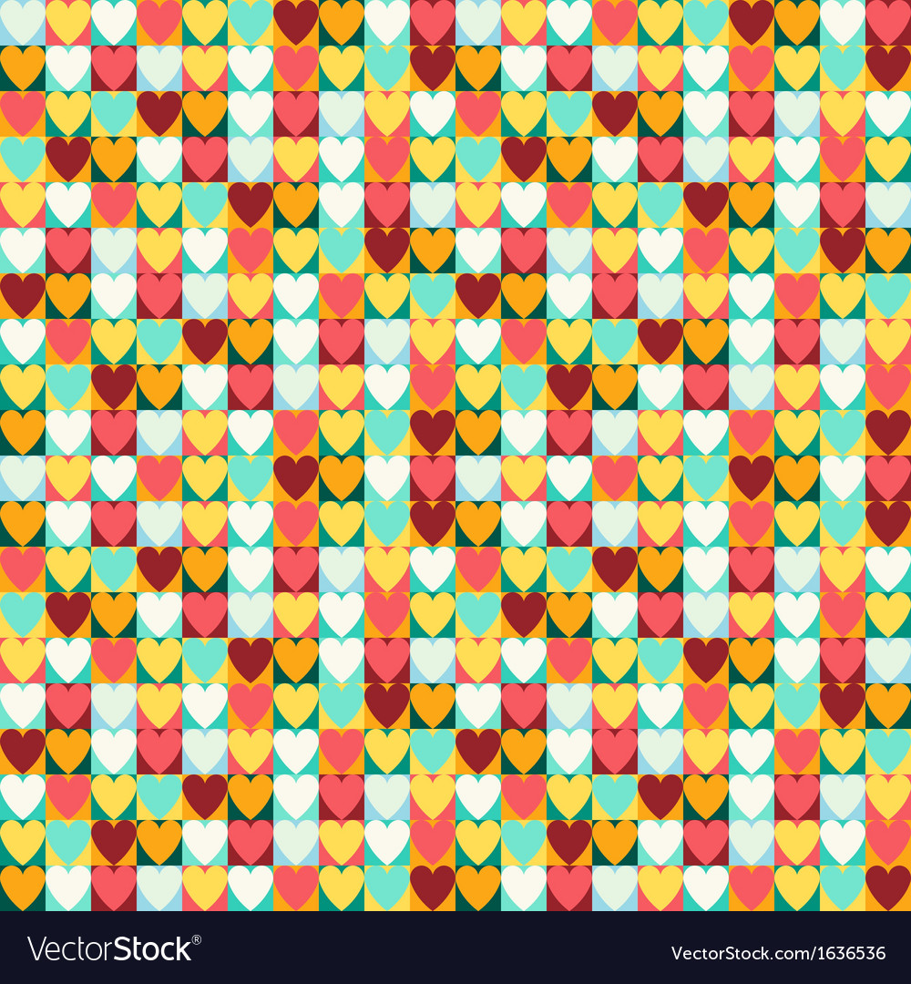 Seamless retro pattern of Valentines hearts
