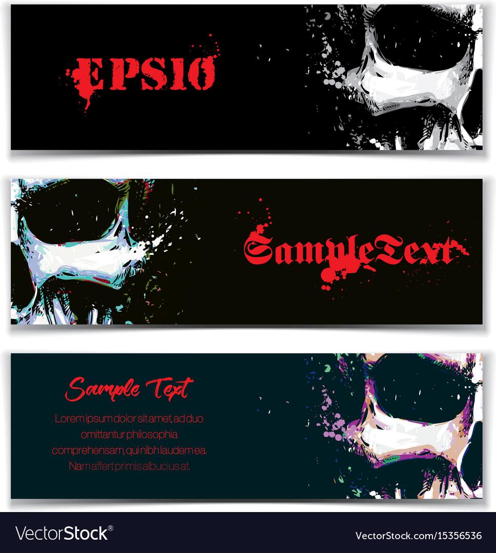 Skull artistic splatter banners black sky blue vector image