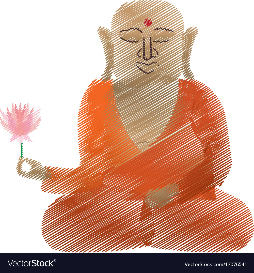 Buddha Colored Hand Draw Sitting With Lotus Flower