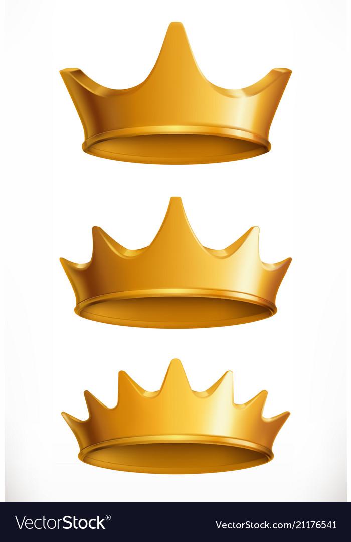 Crown gold emblem 3d icon