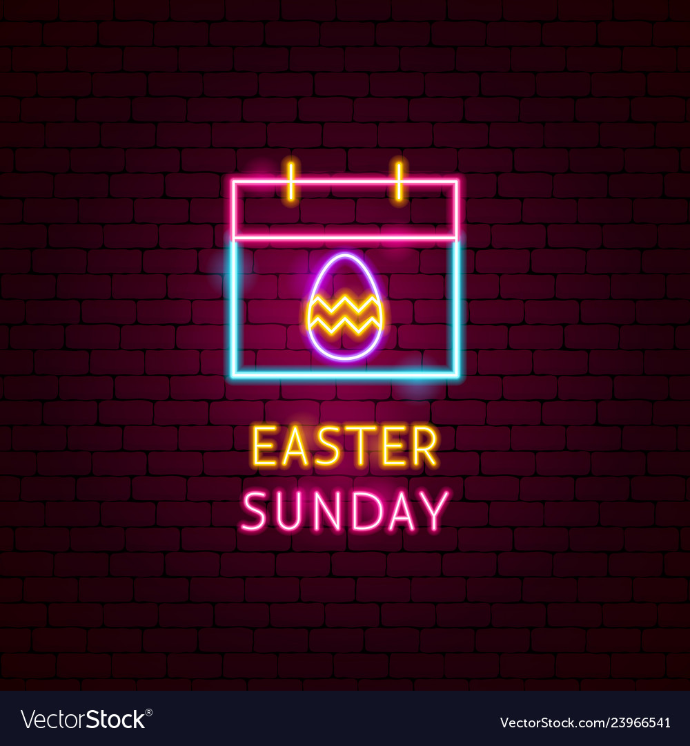 Easter sunday neon label