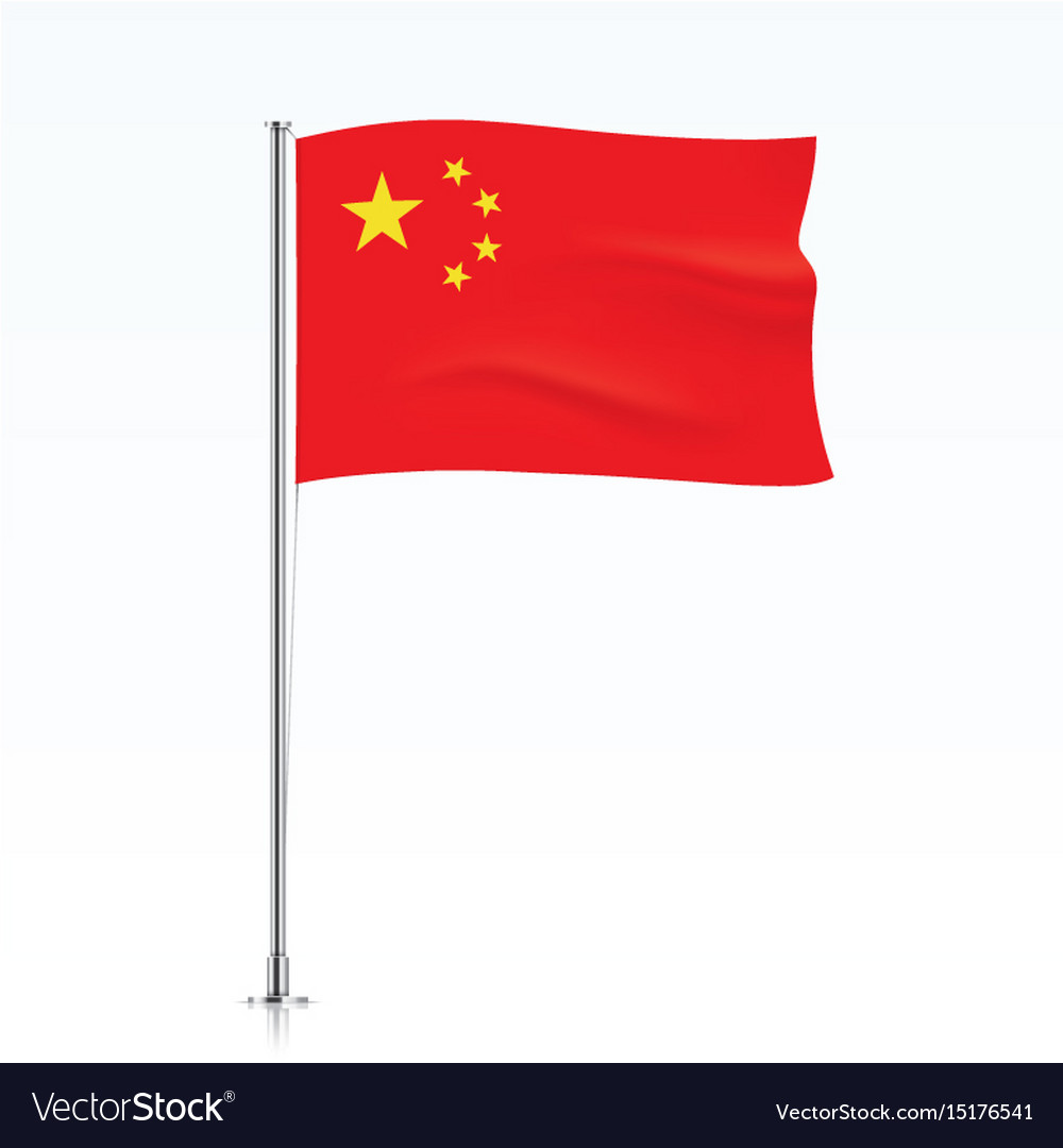 Flag of china waving on a metallic pole vector image