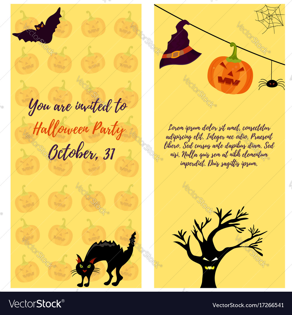 Halloween invitation card with cat ghost house vector image stopboris Choice Image