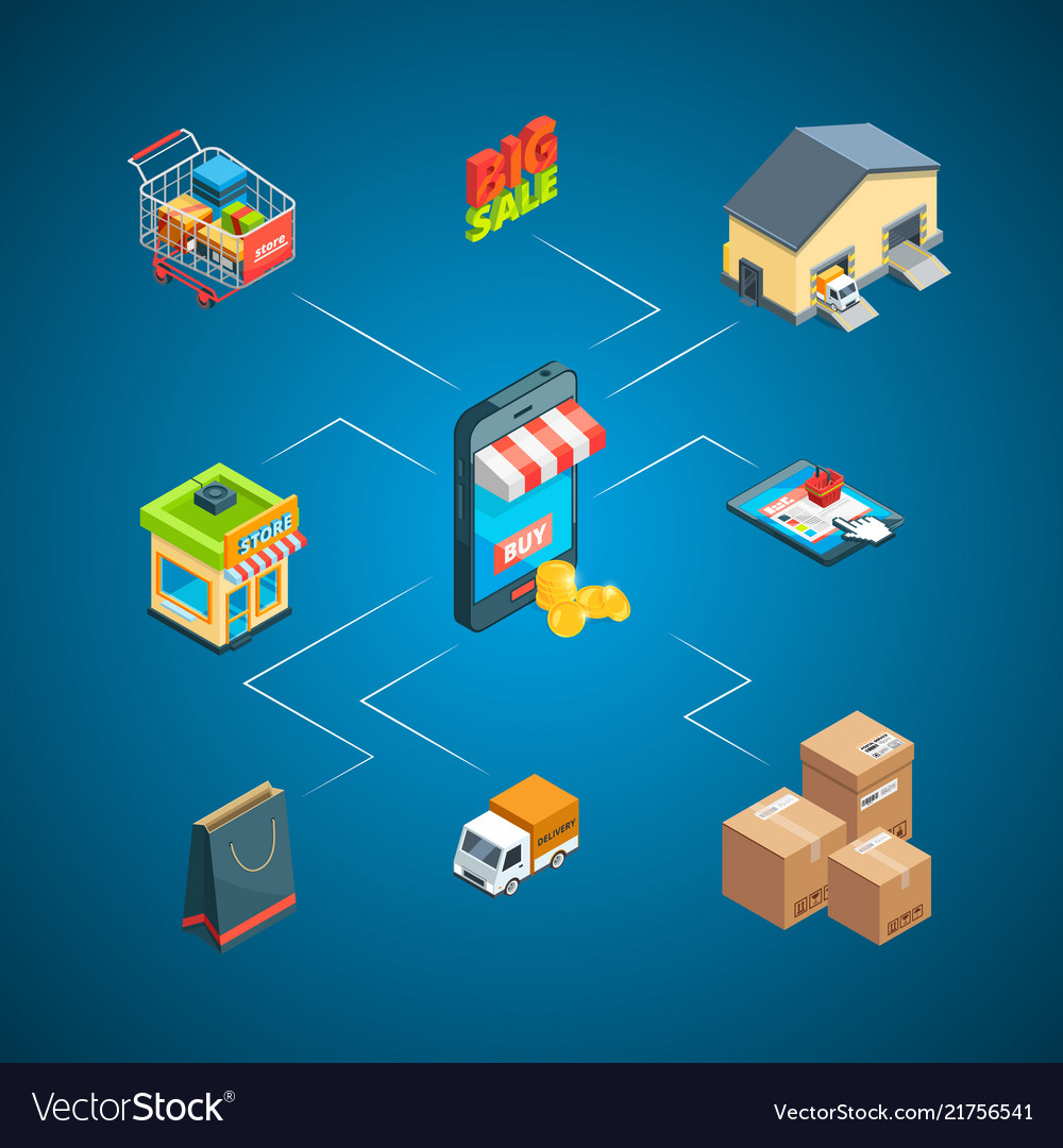 Isometric shipping and delivery icons