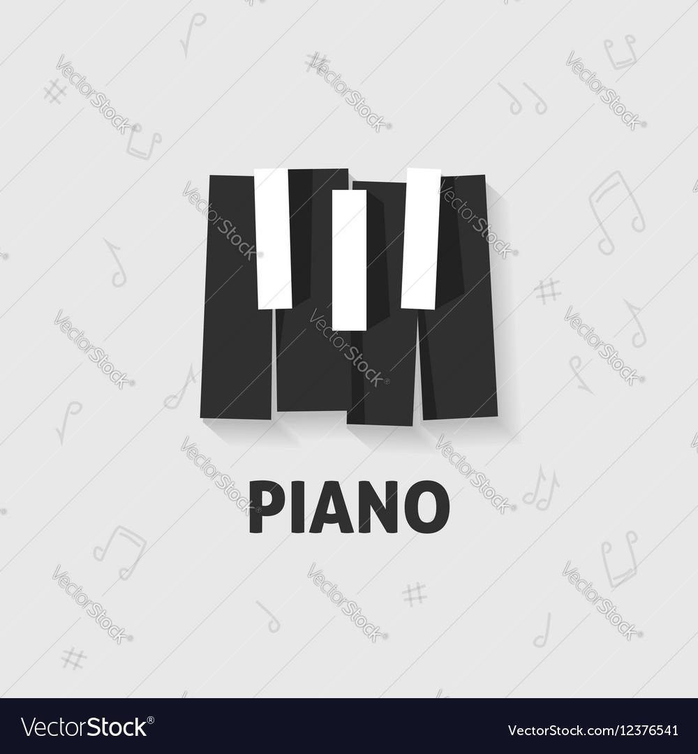 Piano keys flat black and white keyboard