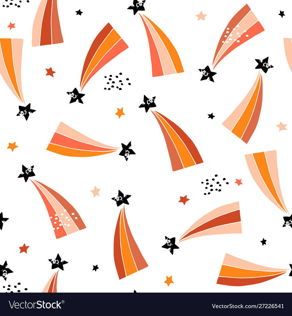 Seamless abstract pattern with retro comets
