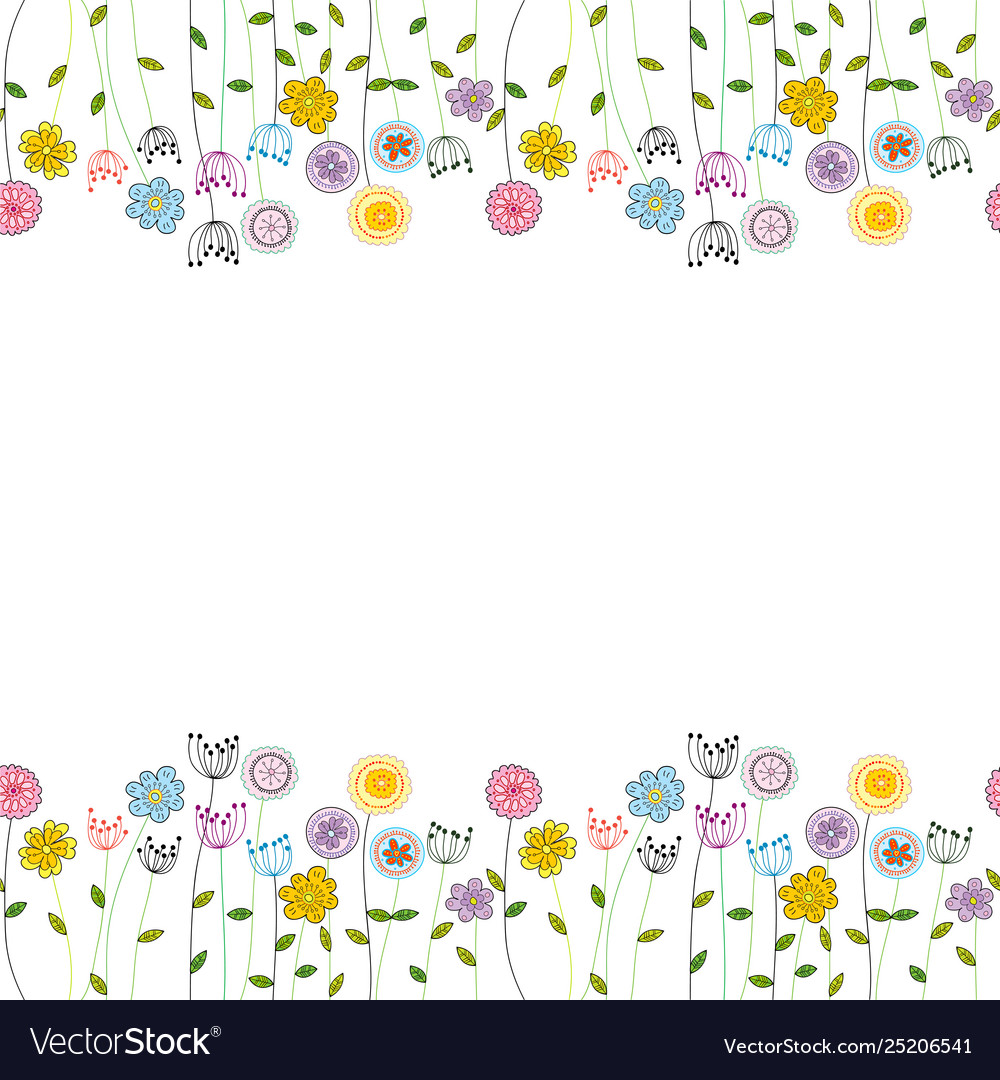 Seamless funny floral border