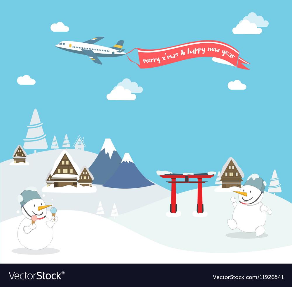 Snowman enjoy christmas travel in asia