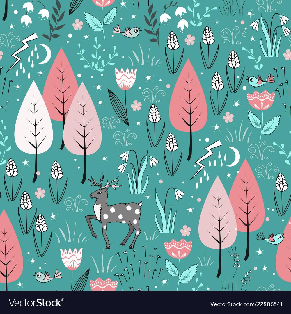Spring pattern with deer birds flowers