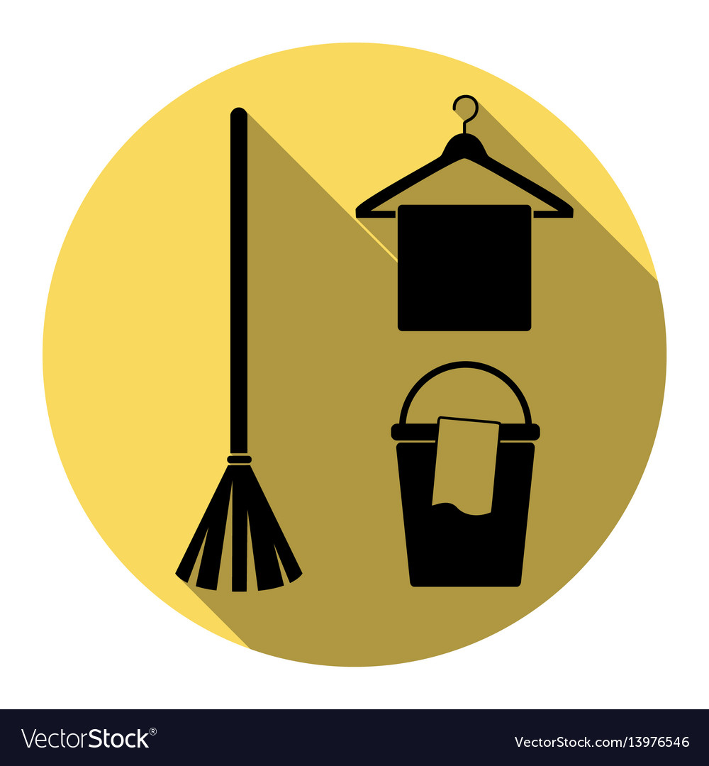 Broom bucket and hanger sign flat black vector image