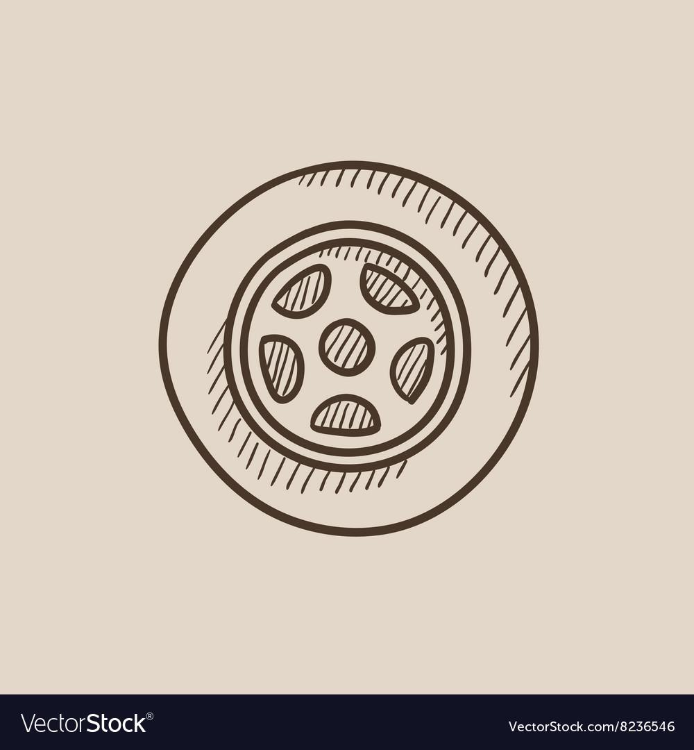 Car Wheel Sketch Icon Royalty Free Vector Image