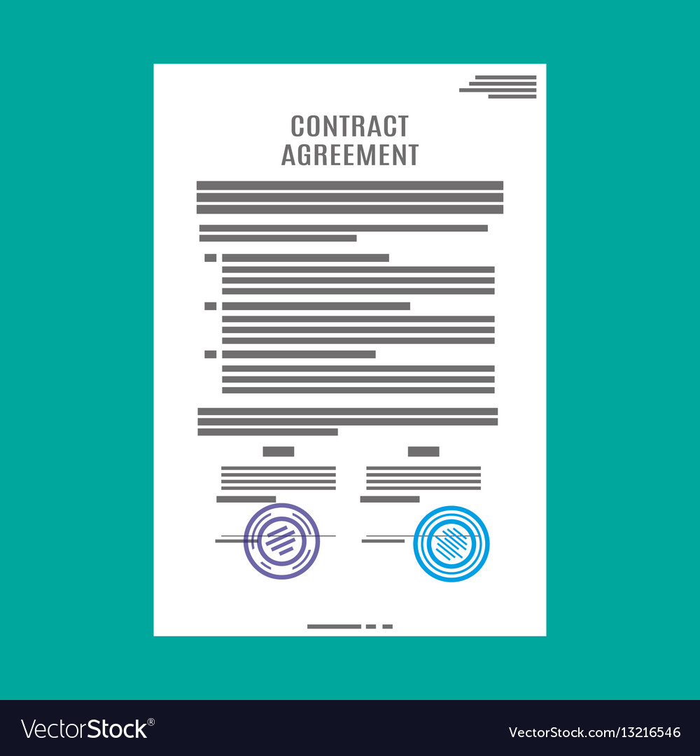 Contract agreement paper blank with seal Vector Image