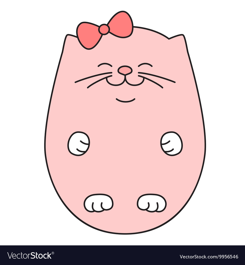 Cute sleeping kitten in pink color vector image