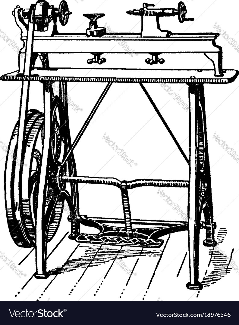 Foot power wood working lathe vintage vector image